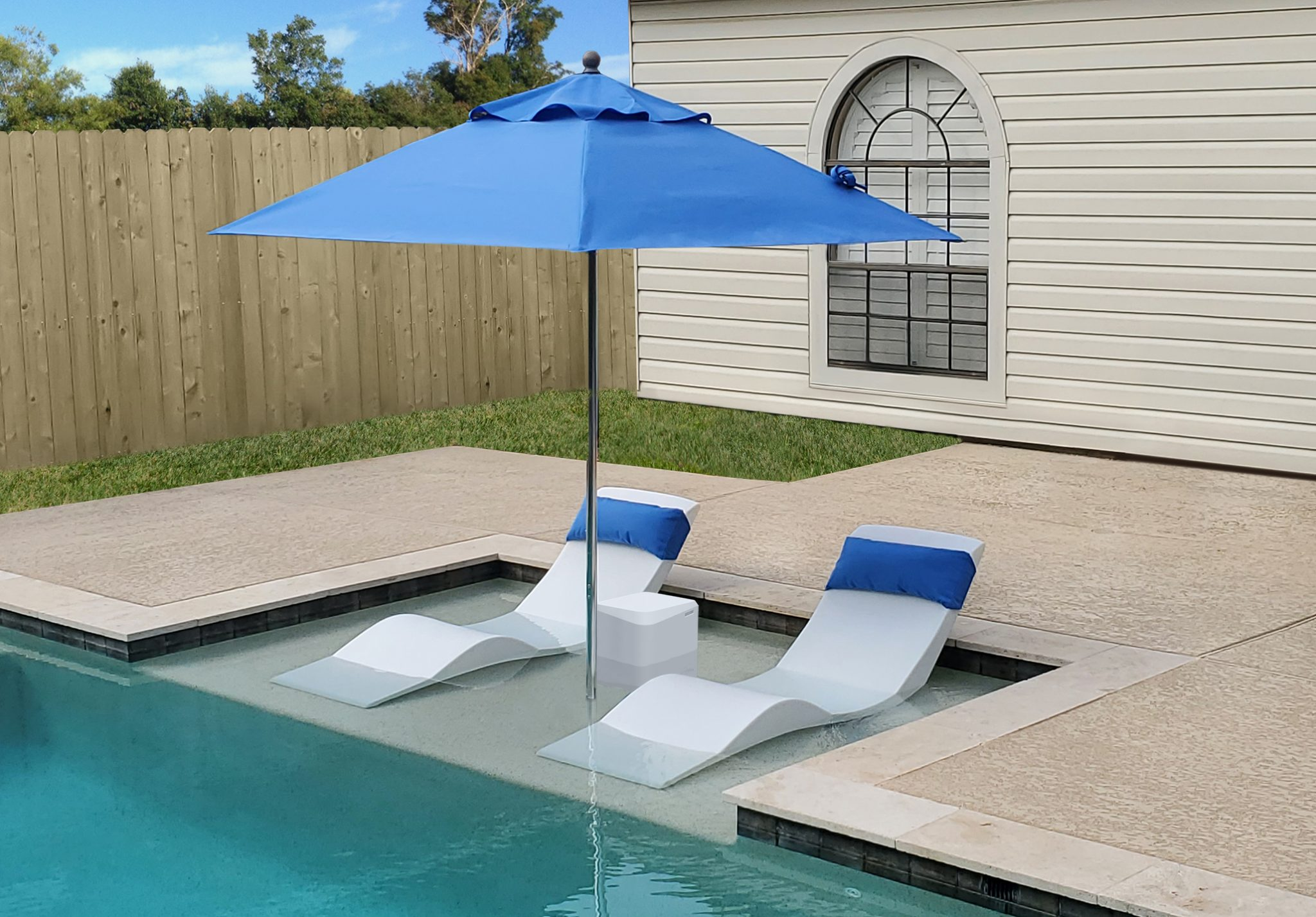 Outdoor Natural Gas Fire Pit Table, Side Table Aqua Chairs In Pool Chaise Lounge Chairs